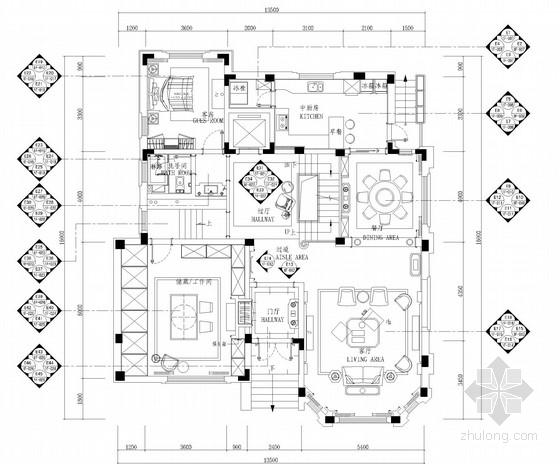 [江苏]知名设计师设计高档欧式风格别墅设计施工图(含效果图)