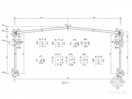 带吊车梁21米跨门式刚架厂房结构施工图