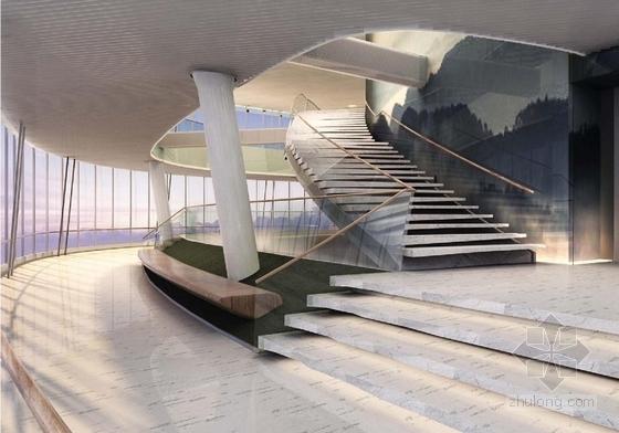 [上海]环超高层地标式摩天商务现代办公大楼设计方案中庭效果图