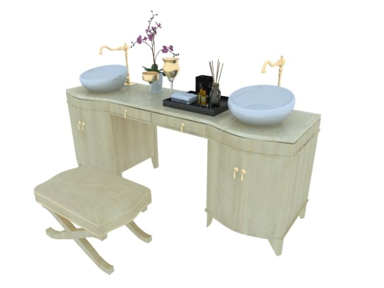 欧式洗手台桌3D模型下载