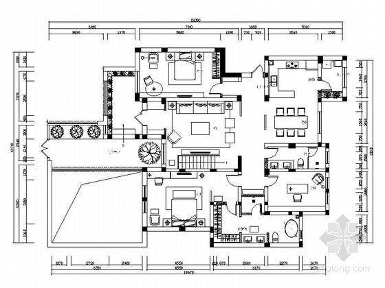 精品时尚简约现代三居室室内装修施工图(含效果图)