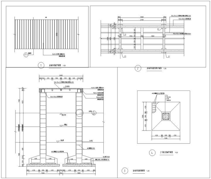 [武汉]高档居住区附属滨湖公园景观工程施工图-木栈道详图