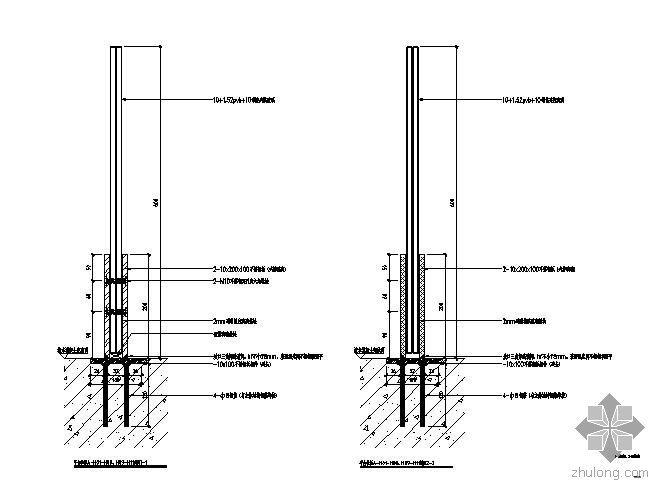 某玻璃幕墙平台栏杆节点构造详图