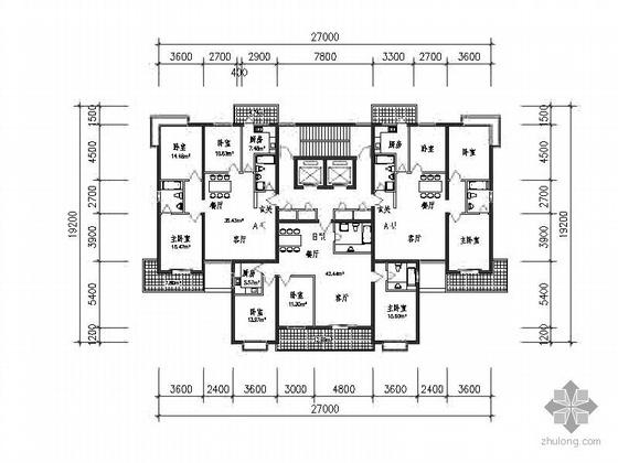 塔式高层一梯三北梯户型图(115/126)