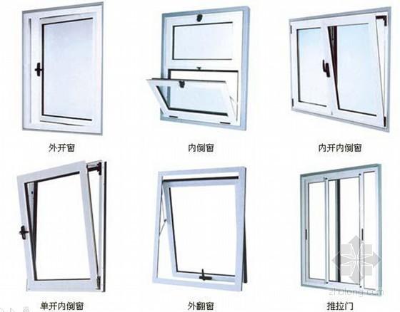 建筑工程铝合金门窗制作安装验收知识及注意事项-部分门窗示意图