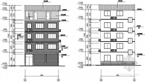 农村自建4层住宅建筑结构施工图