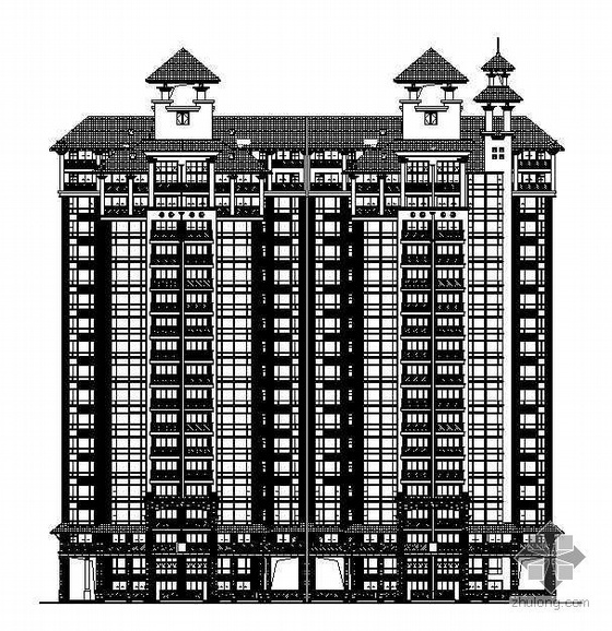 广州市某高档花园A1区12栋贴砖饰面住宅楼施工图