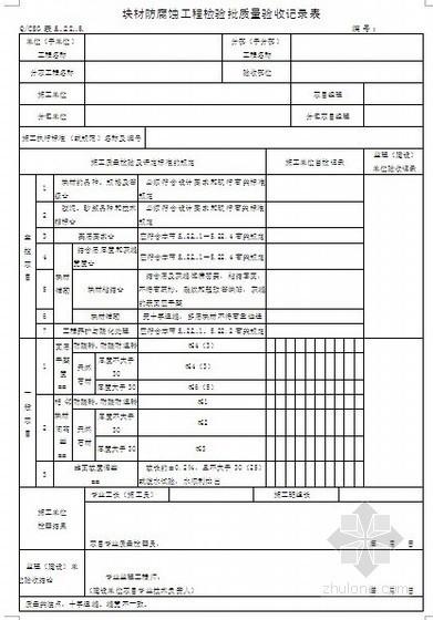 房建防腐蚀工程施工质量验收记录表
