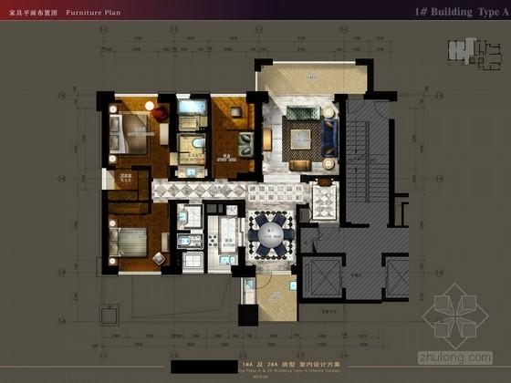[厦门]欧陆古典风格两种房型样板间装修方案