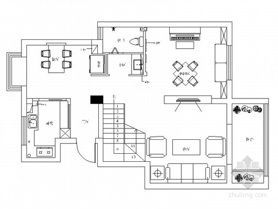花园洋房区典雅美式风情复式样板间cad装修施工图(含效果)