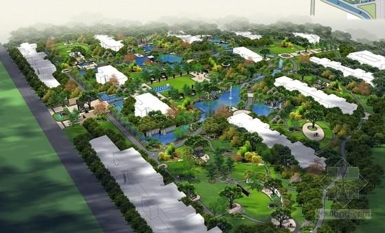 [山西]现代中式皇家园林风格住宅景观设计方案(独家首发)-鸟瞰效果图