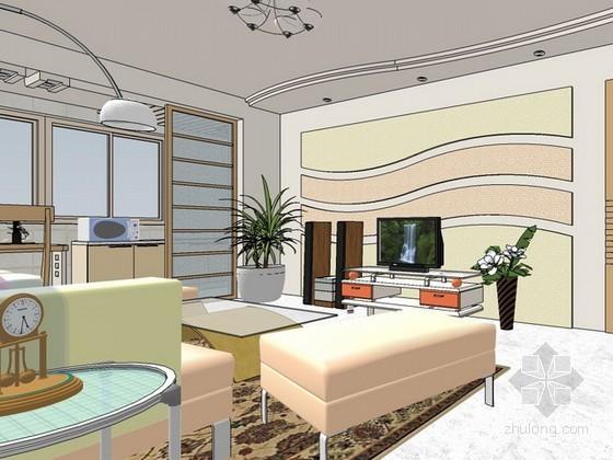 现代风格整体室内方案设计sketchup模型下载