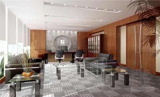 1基础设施开发性金融机构高档现代营业厅设计方案 副行长办公室