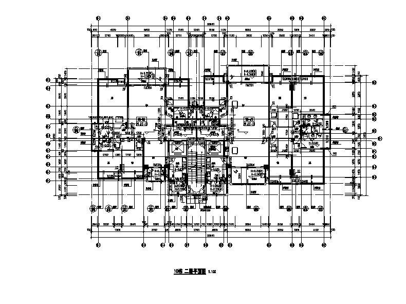 多套套高层塔式住宅楼建筑户型图