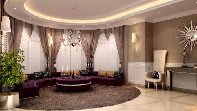 上千家(泉州)三层别墅室内设计施工图(含效果图)-起居室效果图
