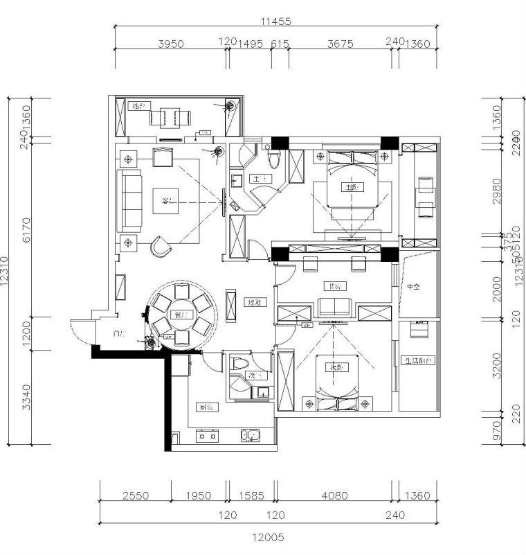 新中式两居室装修全套施工图设计