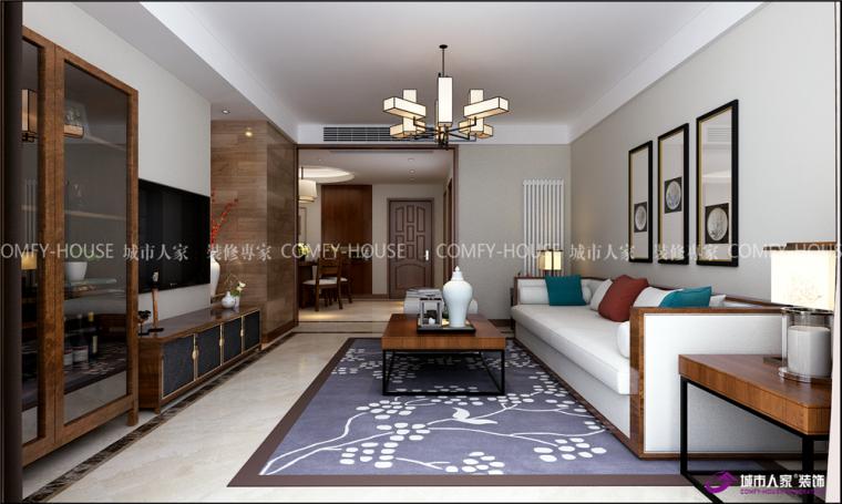 盛景家园108平两室两厅现代中式装修效果图