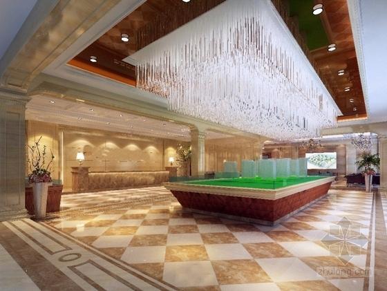[安徽]时尚售楼处室内设计装饰CAD施工图(含效果)大厅效果图