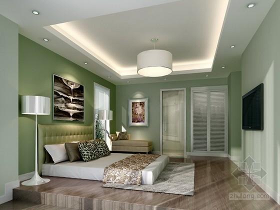 绿色清新卧室3d模型下载