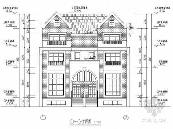 2800平四层框架结构别墅建筑结构施工图