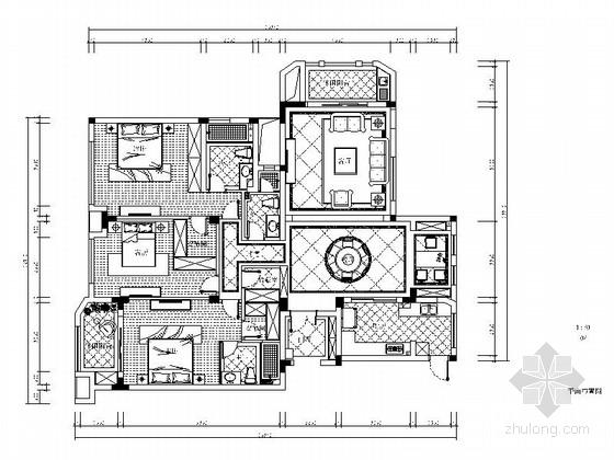 [广州]欧式靓丽大气样板房施工图(含效果图)
