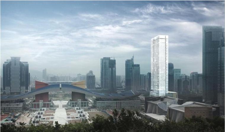 [深圳]超高层白色矩形造型金融办公中心建筑设计方案文本