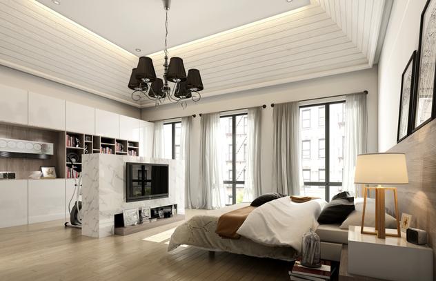简约复式楼样板房设计全套CAD施工图(含效果图)效果图