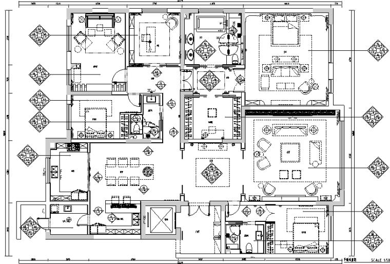 简约风格四居室样板房设计施工图(附效果图)