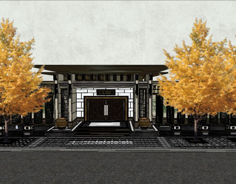 西府大院入口大门模型设计(新中式风格)
