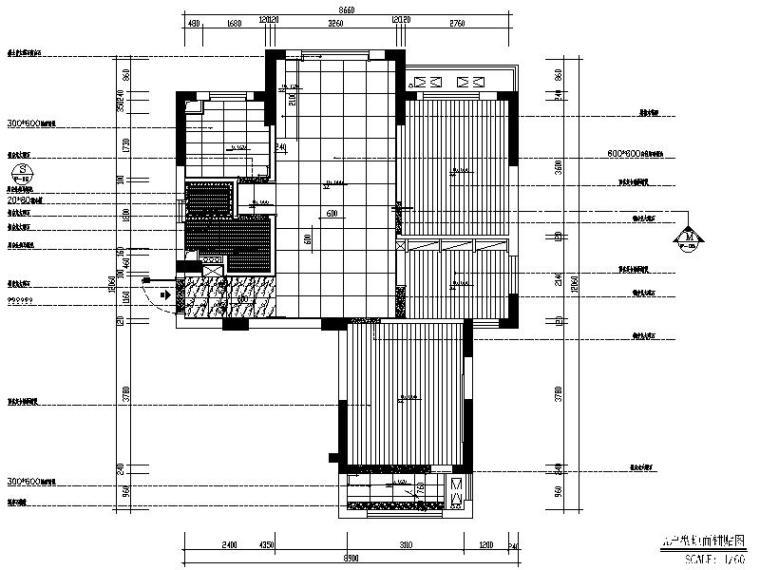 [深圳]现代简约个性时尚样板房室内设计施工图(含实景图)-[深圳]现代简约时尚奢华样板房室内设计平面图