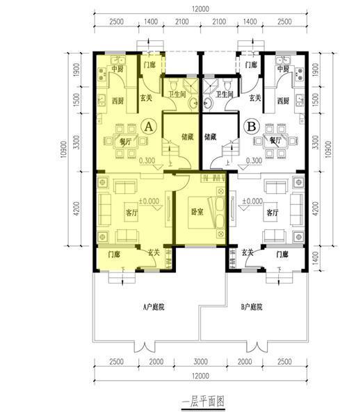 [四川]四层联排及叠拼式别墅建筑户型图
