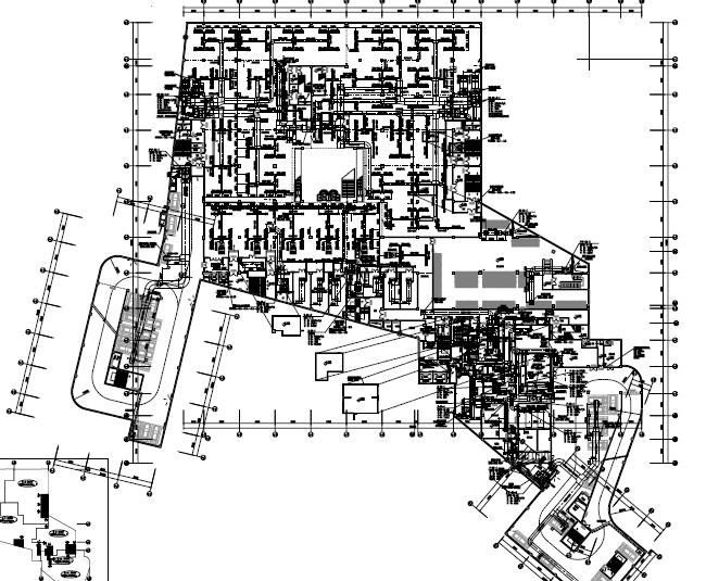 [江西]高层商业住宅综合楼空调通风及防排烟系统施工图(机房大样)