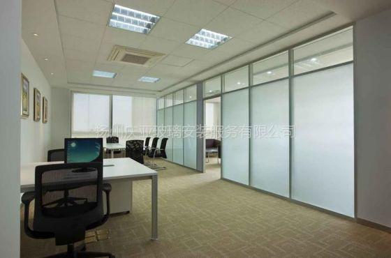 《扬州庆亚玻璃》月城科技广场办公室玻璃隔断测量定做安装