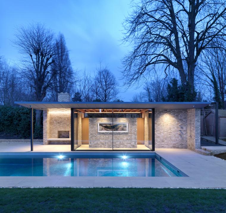 英国一对亭子和游泳池景观-11