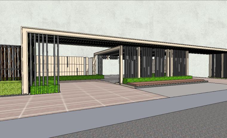 新中式居住区入口景观SU模型设计