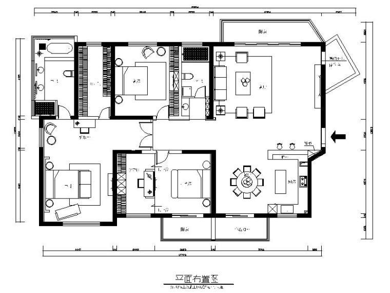 现代简约风格三居室设计施工图(含效果图)