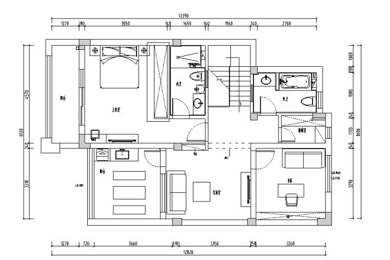 现代园墅绿意盎然美式风别墅设计施工图(附效果图)