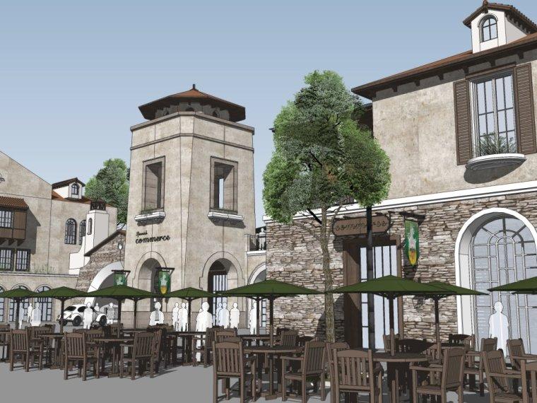 西方新古典风格2-3层西班牙风情商业街设计(su模型)