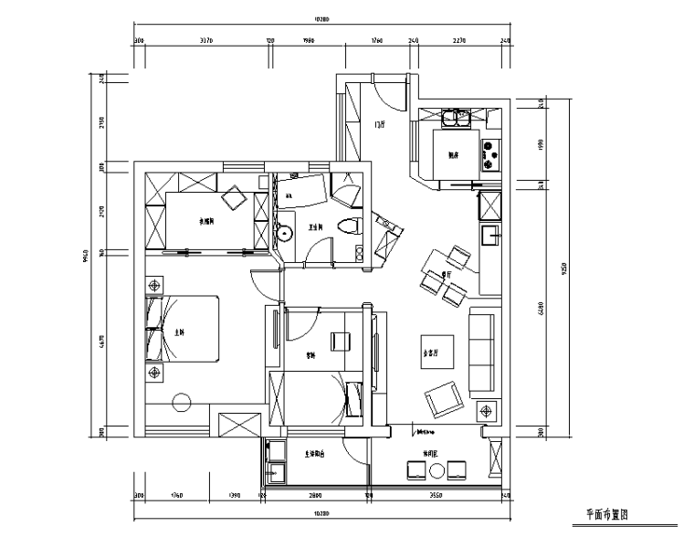 [江苏]常熟湖畔花园二居室住宅设计施工图(附效果图)