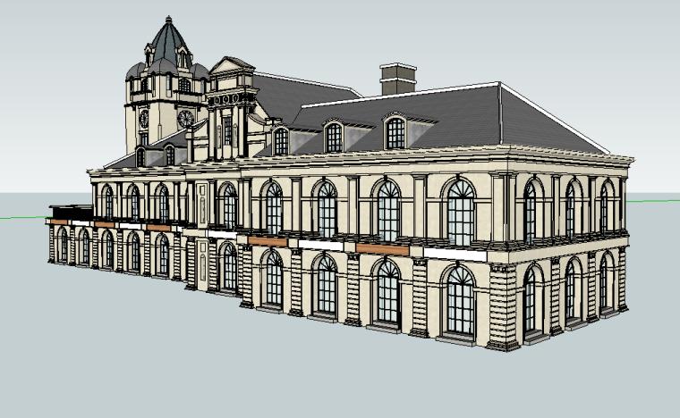 法式风格龙溪水岸建筑单体设计模型