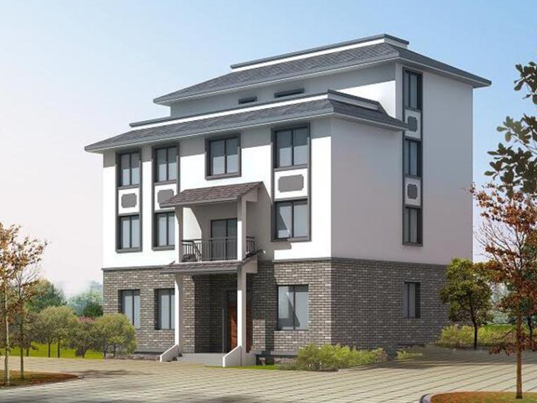 多重坡屋面现代别墅建筑方案文本(包含效果图)