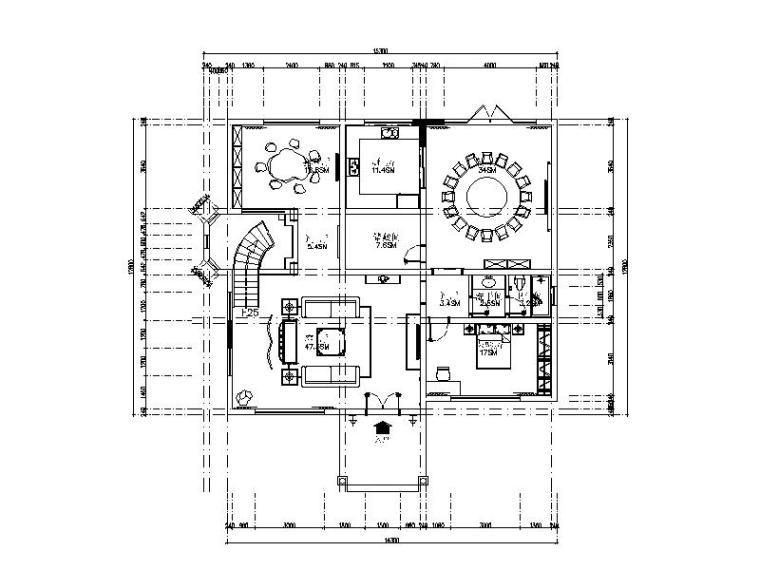 中式风格别墅设计全套CAD施工图(含效果图)
