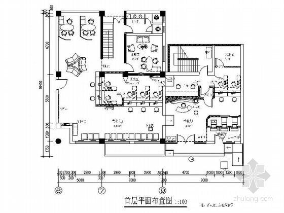 [北京]现代综合金融服务中心支行装修CAD施工图(含效果)