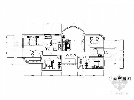 时尚简约三居室装修施工图(含效果图)