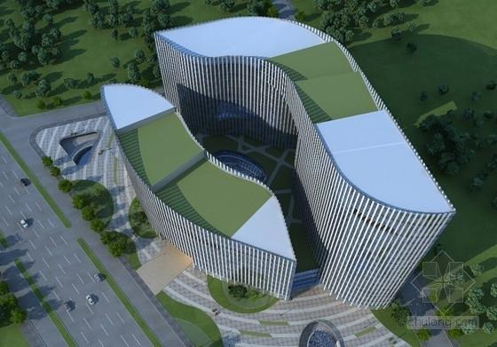 [北京]玻璃幕墙高层办公综合体建筑设计方案文本(多方案比对)-玻璃幕墙高层办公综合体效果图