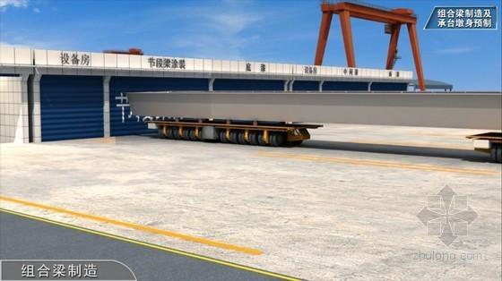 世界级跨海大桥工程标准化施工及管理三维动画演示(20分钟画面高清)-组合梁制造