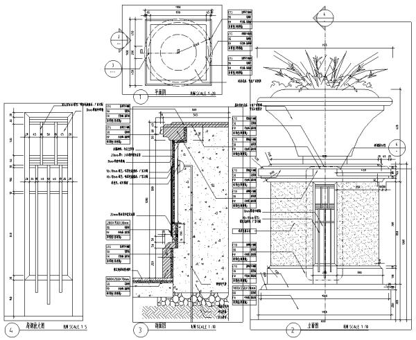 园林景观小品花钵花坛CAD施工图86张
