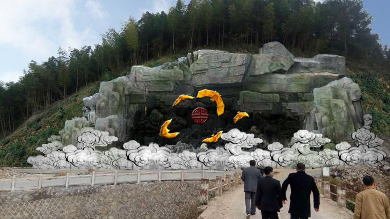 福建景区金福贺寿大型主题假山设计图纸