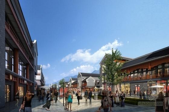 [山东]仿古风格步行商业街概念性修建规划设计方案文本(含CAD)-仿古风格步行商业街概念性修建规划效果图