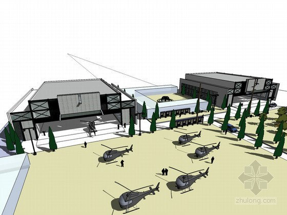 飞机厂房SketchUp模型下载